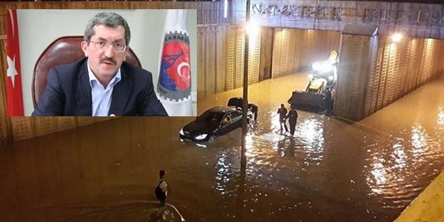 BAŞKAN KENDİ BELEDİYESİNDE SELDE MAHSUR KALDI!